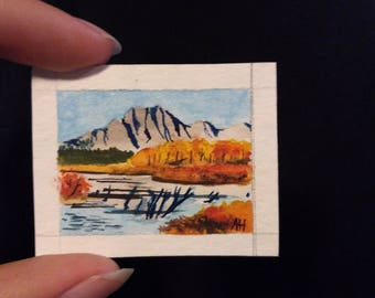 Tiny original watercolor painting, landscape, original painting miniature painting, tiny aquarelle, mini art cute mountains autumn fall lake