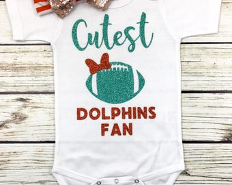Cutest Dolphins Fan Football Bodysuit Outfit For Baby Girl