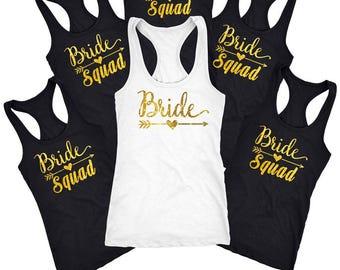 Bachelorette party shirts, Bride Squad Shirt, Bridal party shirts, wedding shirt, Bridesmaid gift, Bridesmaid Tank top and shirt  D110