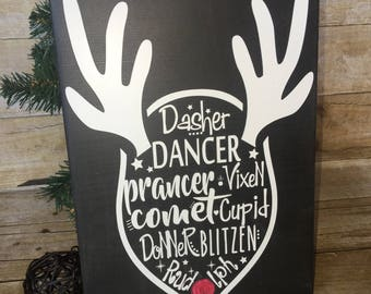 Santa's Reindeer Names, Christmas Home Decor, Handmade, Hand painted, Reindeer Wood Sign, Holiday Decor