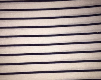 Navy and White Stripes - Rayon Spandex Knit