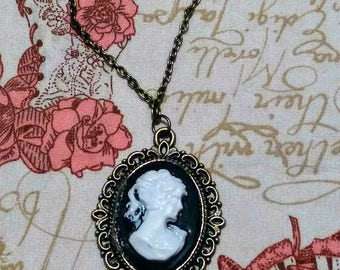 Handmade Vintage Style Cameo Necklace.