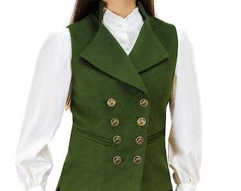 Regency Waistcoat in Bracken Green Moleskin