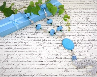 Vintage Necklace, Turquoise Necklace, Blue Necklace, Boho Style Necklace, Tassel Necklace, Long Necklace, Necklace with Cabochon.