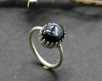 Natural Black Onyx Oval Gemstone Ring 925 Sterling Silver R702