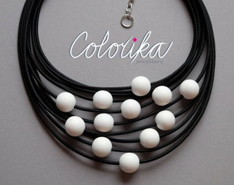 White beaded necklace, Strand beads necklace, Wooden bead necklace, White pearl necklace, Beaded strand necklace, Black bead necklace