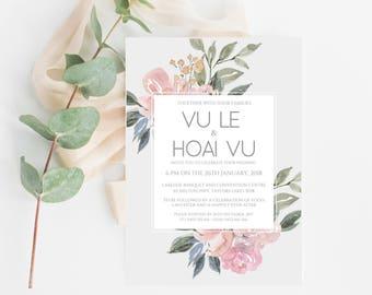 Blush Wedding Invitation Template, Blush Wedding Invite Printable, Floral Wedding Invitation, Vintage Floral Invitation Template, PDF