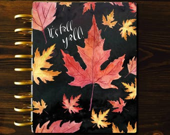 Planner COVER, Fall Happy Planner, Black Planner Cover, Laminated Cover, Mambi Planner Cover, 11 Disc Cover, Happy Planner Cover, Discbound