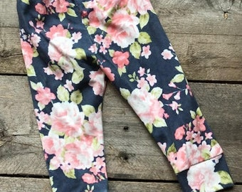 Floral leggings, baby leggings; baby pants; girl leggings