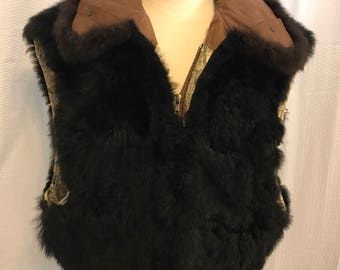 Black Fur Vest Size Medium to Large Vintage