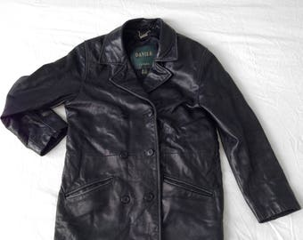 Mens Vintage: Double Breasted Long Black Leather Jacket