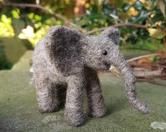 Baby elephant, needle felt baby elephant, needle felted baby elephant, poseable needle felt elephant, needle felted elephant, wool elephant