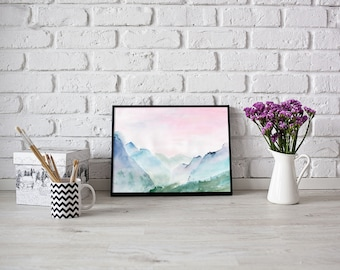 Landscape watercolor painting - watercolor print - landscape print - landscape wall art  - mountain wall decor - digital download #p39