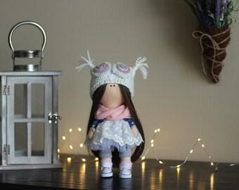 Baby dolls Art doll Decor doll Soft decor Handmade doll Fabric doll Tilda Textile doll Cloth doll Rag doll Gift doll Interior doll Owl doll