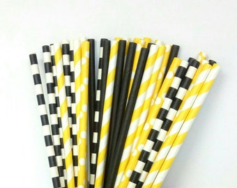 Black & Yellow Paper Straws - Black and Yellow Drinking Straws - Black and Yellow Party Decorations - Black and Yellow Birthday Decorations