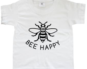 BEE HAPPY White Kids T-Shirt - Produced in the UK Vinyl Print - Manchester Bee Manc and Proud Yellow Northern Hacienda Madchester Mancunian
