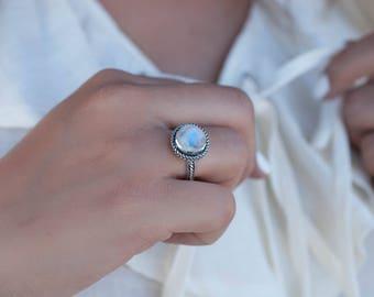 Moonstone ~ Sterling Silver 925 ~ Handmade ~ Gemstone ~ Statement ~ Everyday ~ Solitaire ~ Hippie ~Bohemian~June Birthstone~ Stacking~MR018