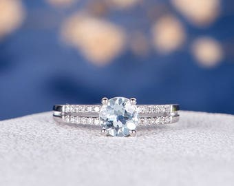 Aquamarine Engagement Ring Bridal Set Wedding Minimalist White Gold Birthstone Split Shank Pave Diamond Double Bar Anniversary Promise