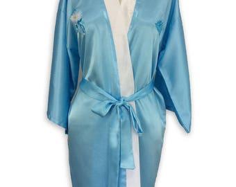 Light Blue Embroidered Kimono Robe, Handmade Womens Robes, Floral Bride Robe, Floral Bridesmaid Robe, Kimono Dress