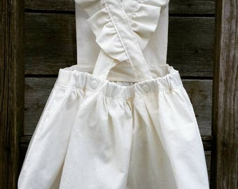 Girls Pinafore Dress with Ruffled Straps -  Various Colors and Sizes Available