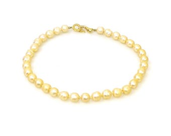 Vintage Faux Pearl Choker Length Bead Necklace - Gold Hook Style Clasp - Glamorous Baroque Shape Faux Pearls Strand 4