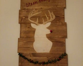 Christmas decoration from wooden wall