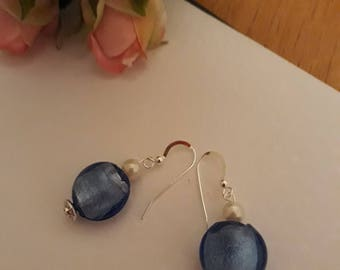 Cobalt Blue glass beads with pearls and silver