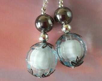 Blue crystal globe earrings