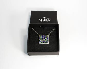 925 Silver necklace and micromosaic/geometric pattern blue/geometric necklace/925 Silver micro mosaic//handmade/Made in Italy