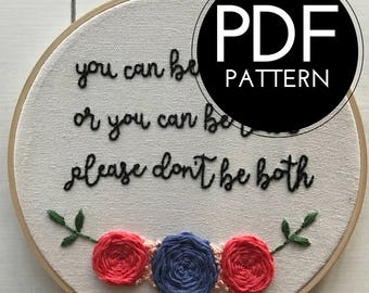 digital hand embroidery pattern | please don't be stupid | digital PDF download | embroidery pdf | embroidery pattern
