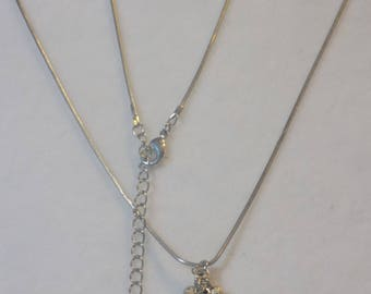 Vintage White Rope Chain Necklace with Moonlight Grape Pendant