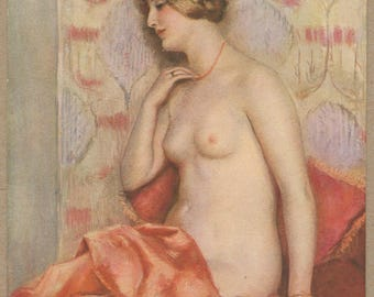 Peaches | Art Nouveau | Nude Portrait Postcard | French 1920's Erotica | Antique Original | Salon De Paris | Risqué |