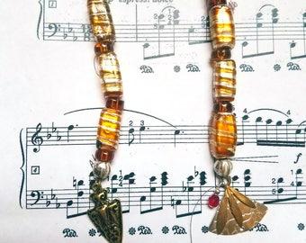 One of a kind, copper-gold, dangle earrings - nickel free