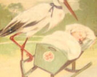 Nice Vintage Embossed Postcard PBF Stork and Baby #4