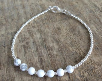 Sterling Silver Stacking Bracelet with Howlite Beads