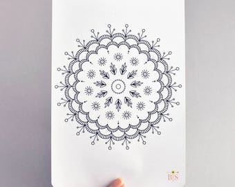 Spring mandala full A5 page coloring planner sticker