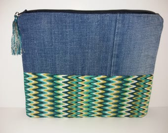 Jean and customizable hand made fabric pouch