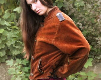 Brown Vintage Cowboy Genuine jacket with lacing and Golden buttons