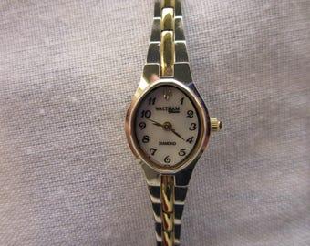 Free Shipping! Waltham Diamond Classic Ladies Wrist Watch Two Tone Link Bracelet Watch Diamond Quartz Watch Vintage Waltham Ladies Watch