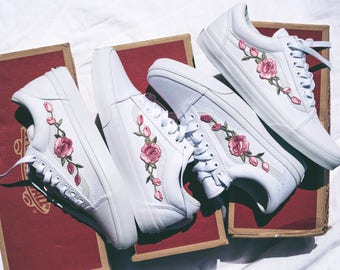 Vans Old Skool Custom - 'Rose Patch' Rosa - EUR 34.5 - 47 Unisex -  Rosen Stickerei Sk8 Hi Sneaker Tommy Hilfiger Ralph Lauren Gucci