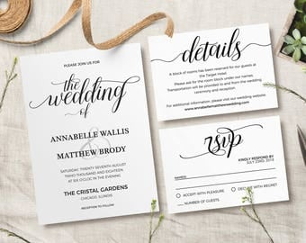 Rustic Invitation, Printable Rustic Wedding Invitation Template    Minimalist Invitation, Formal Script, Elegant  Formal Invitations Template