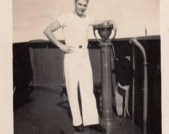 Vintage Photo Handsome Young Sailor Posing on Ship Deck Military Portrait Found Black & White Antique Paper Art Ephemera Snapshot Mood