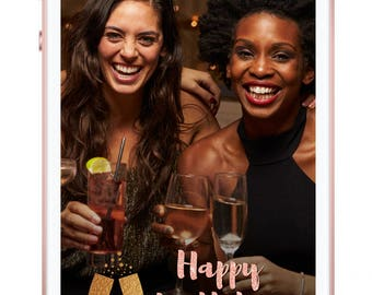 Birthday Snapchat Geofilter, Happy Birthday, birthday party, rose gold, gold, champagne geofilter