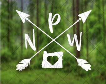 Oregon Pacific Northwest love with crossing arrows decal - car, window, laptop, tablet decal - PNW pride decal - Oregon Pride decal