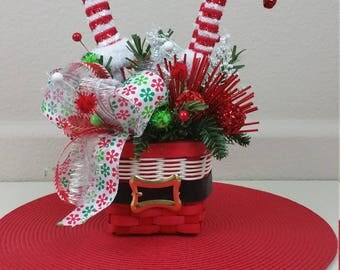 Elf Legs Flroal Arrangement, Santa Basket, Elf Legs Arrangement, Christmans Decor