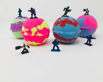 Sale! One or Five 7.0 oz Halo Inspired Mega Blocks Bath Bomb Birthday Party Favor Set with Surprise Toy Figure Inside