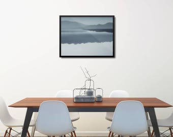 Modern Blue Poster, Blue Poster Gift, Modern Mountains Art, Minimal Blue Poster, Modern Landscape Poster, Modern Living Room Wall Decor Gift