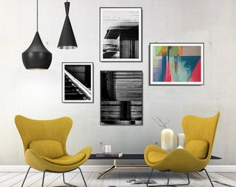 Industrial Living Room Decor, Gallery Wall Art Sets, Modern Geometric Wall Decor, Industrial Decor Style, Abstract Printable Poster Set