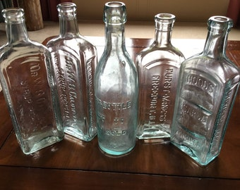 Lot of Large VINTAGE  Aqua BLUE apothecary BOTTLES