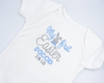 Personalised Embroidered My First Easter Boys Baby Clothing -Bib Vest Short Sleeved Bodysuit Sleepsuit New Baby Gift Shower TShirt Add Name
